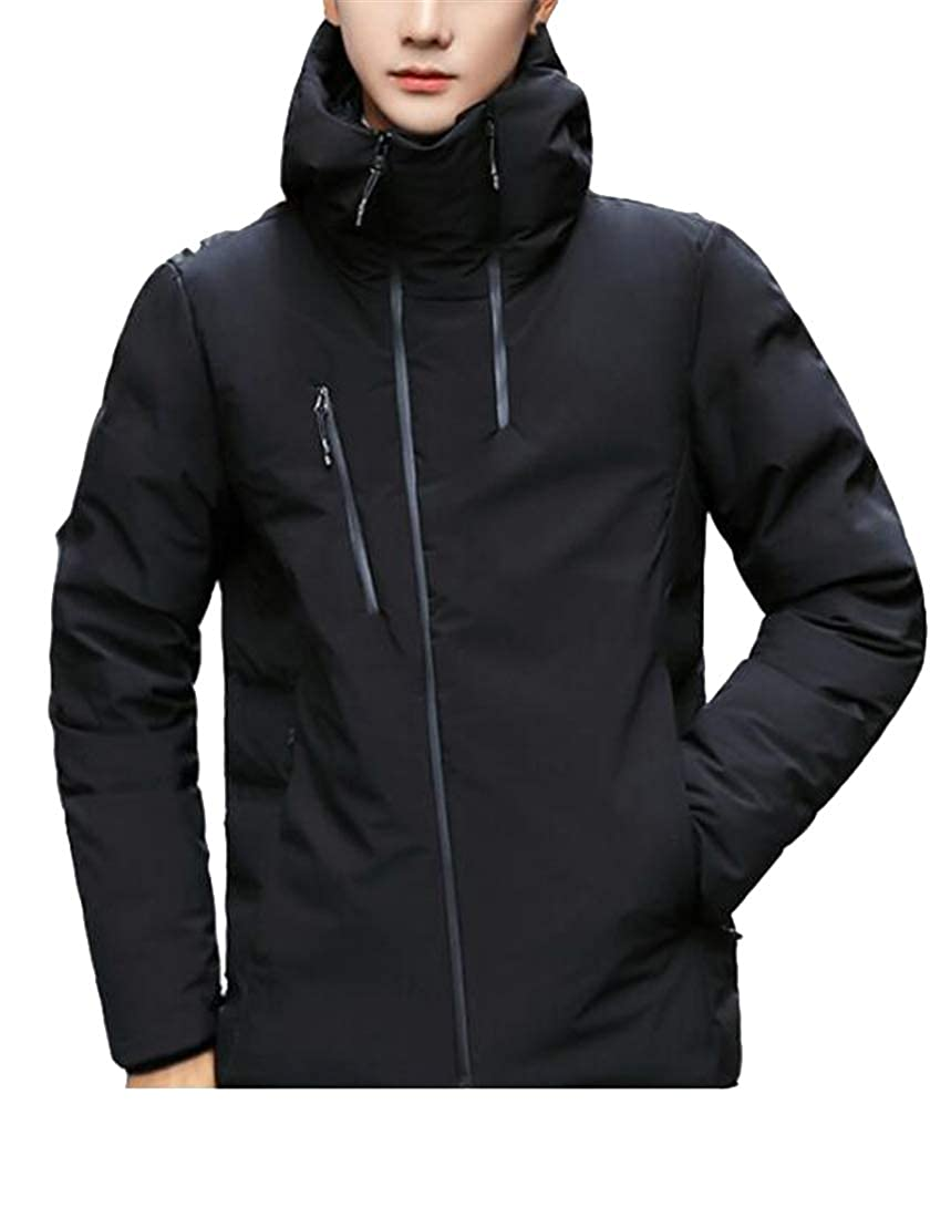 WAWAYA Men Hooded Solid Zip Up Thermal Plus Size Hoodie Down Coat Jacket Overcoat