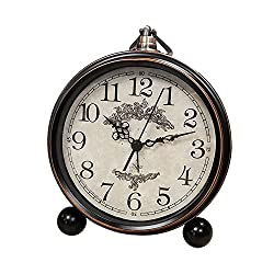 Battery Alarm Clock for Bedroom Antique Mantel Large Display Decorative Desk Clocks Non Ticking
