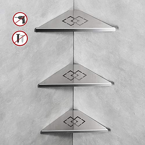 OWOFAN Shower Corner Shelf Wall Mounted 3 Tier Bathroom Corner Shelf Storage Stainless Steel Satin Nickel 18062-3 ()