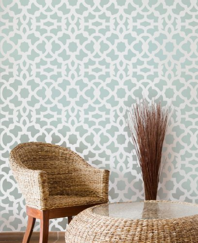 Moroccan Stencil Zamira - Long version - reusable stencil patterns for walls just like wallpaper - DIY (Inspiration Sisal Rug)