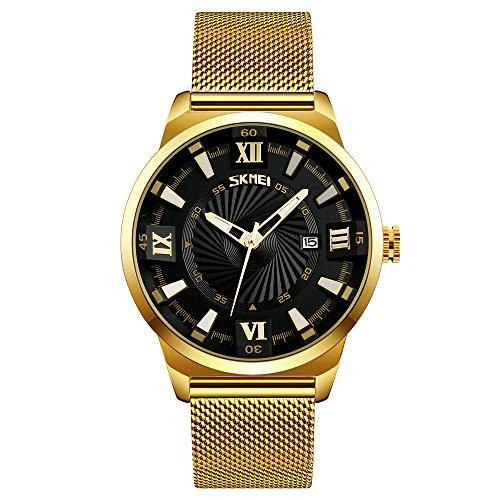Pointer Calendar (SKMEI 9166 Pointer And Calendar Display 30M Waterproof Stainless Steel Quartz Watch For Men's (Black))