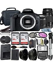 Canon EOS 250D / Rebel SL3 DSLR Camera with EF-S 18-55mm + EF 75-300mm Dual Lens + 2pc SanDisk 32GB Memory Card + Tripod + Case + ZeeTech Accessory Bundle (24pc Bundle) (64GB Memory Card)