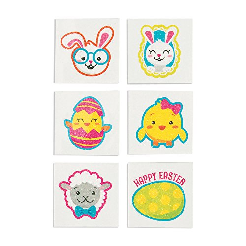 Fun Express Assorted Easter Glitter Temporary Tattoos - 72 Pieces