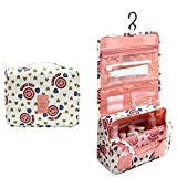 Happy Hours - Multifunction Smile Waterproof Hanging Toiletry Bag Pouch / Portable Cosmetic Outdoor Organizer Storage Makeup Kit Case with Mesh Pockets for Travel and Homeuse(Pink)