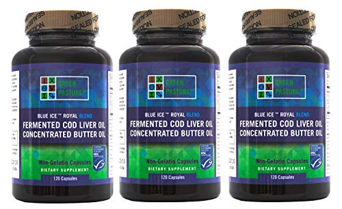 - Green Pasture Blue Ice Royal Butter Oil / Fermented Cod Liver Oil Blend (120 Pack of 3)