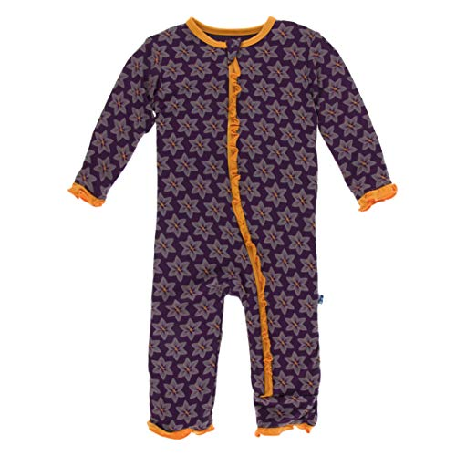 (Kickee Pants Little Girls Print Layette Classic Ruffle Coverall with Zipper - Wine Grapes Saffron, 3-6 Months )