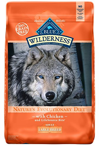 - Blue Buffalo Wilderness High Protein Grain Free, Natural Adult Large Breed Dry Dog Food, Chicken 24-lb