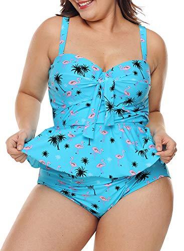 (Blibea Women's Plus Size Halter V Neck Peplum Floral Print Tankini 2pcs Swimsuit with Swim Briefs2XL Blue)