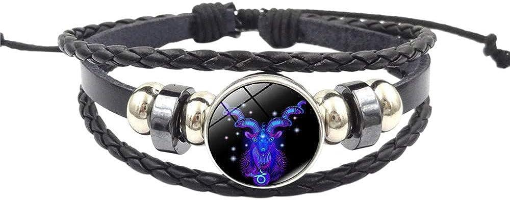KEERADS Mode Bijoux Mode Femmes Constellation Signe du Zodiaque Pendentif Multicouche /À La Main Bracelet L