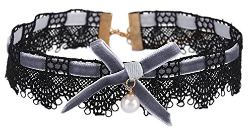 Ababalaya Womens Vintage Velvet Lace Imitation Pearl Pendant Rosette Bow Leather Choker Necklace for Girls Tattoo Necklace (Grey (Cosplay Steampunk Costumes)
