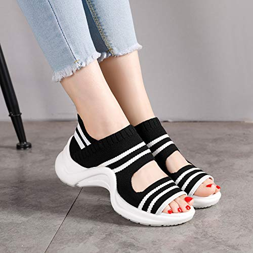 Sandals Sports Trente De pais Bas Chaussures quatre Fire Femmes Muffins Super lastiques 4cm Respirant Loisirs Bouche Poisson Noir Et Kphy vpYzTqz