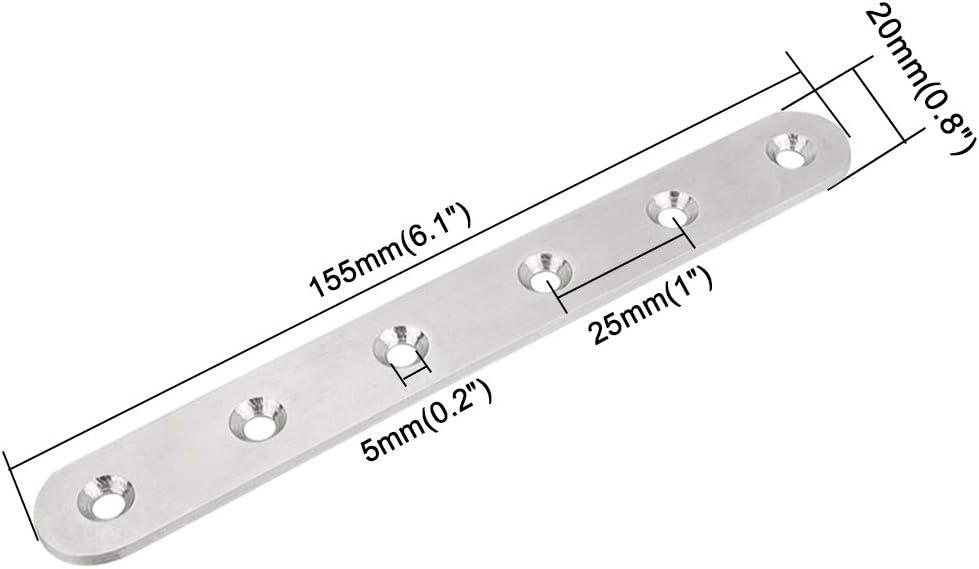 ManLee 8 Pcs Pattes dassemblage /Équerres Plaqu/ées R/éparation Plaques de Fixation Meubles Acier Inoxydable avec Vis pour table de porte de meuble en bois 155 x 19 x 3mm Argent