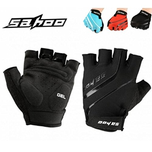 Walid@SAHOO Outdoor Bike Tactical Breathable Sport Cycling Half Finger Gloves Bicycle Gloves ( M ) Black