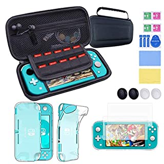 Accessories Kit for Nintendo Switch Lite, with Soft and Dirt-resistant TPU Shockproof Cover, 2 pcs Ultra-thin Tempered Glass screen protectors, 4 Thumb Stick Caps, EVA Switch Lite Carrying Case