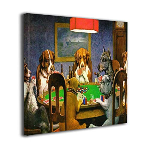 Dog Play Poker (Yanghl Canvas Wall Art Prints Humor Dog Play Poker Cards Modern Decorative Artwork for Wall Decor and Home Decor Framed Ready to Hang 20