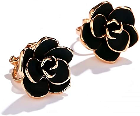 affordable gift birthday gift Black Flower stud earrings gold plated earrings surrounded with zirconia stones