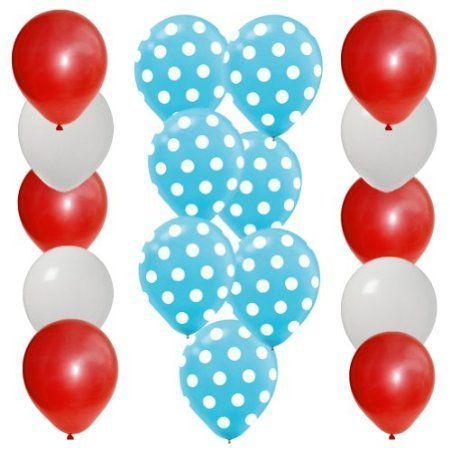 30 pc Dr Seuss Cat in the Hat Party Balloon Kit: 12 Red 12 White 6 Blue w White Dot Latex (Cat In The Hat Thing 1)