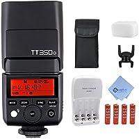 Godox Thinklite TT350-O GN36 1/8000s HSS Mini Flash 2.4G Wireless Master Speedlite for Olympus E-M10II M5II M1 PL8 PL7 PL6 P5 P3 PEN-F, Panasonic DMC-GX85 G7 GF1 LX100 G85+Mcoplus AA Battery Kit