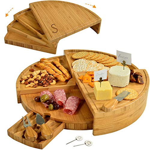 Picnic at Ascot Patented Personalized Bamboo Cheese/Charcuterie Board with Knives & Cheese Markers - Stores as a Compact Wedge - Opens to 18