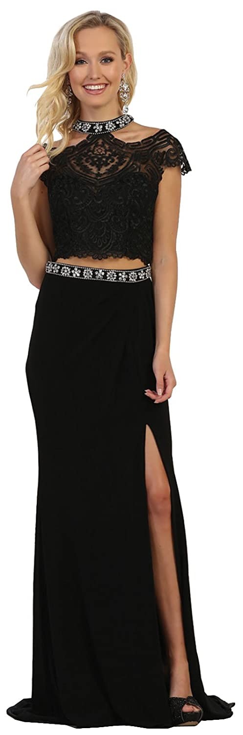 Black Formal Dress Shops Royal Queen RQ7548 Two Piece Prom Evening Gown