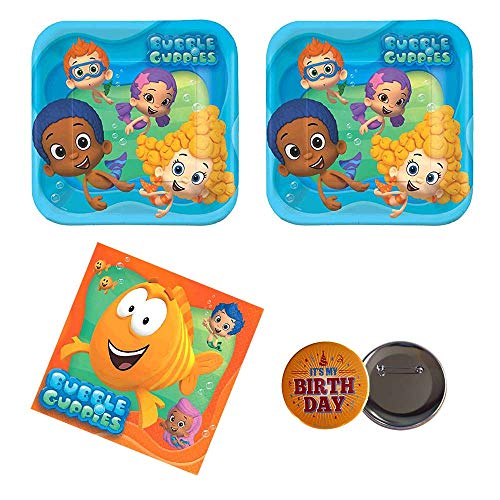 RDC 04 Bubble Guppies Birthday Party Supplies, 16 Guests, Plates and Napkins, Button