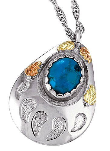 Beautifully Designed! Black Hills Gold Sterling Silver Genuine Turquoise Bear Paw Pendant/Necklace