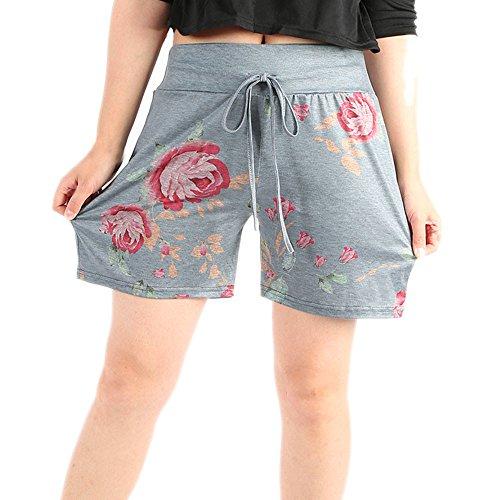 Big Promotion!FarJing Women Summer Casual Floral Prints Drawstring Shorts Pants(M,Gray)