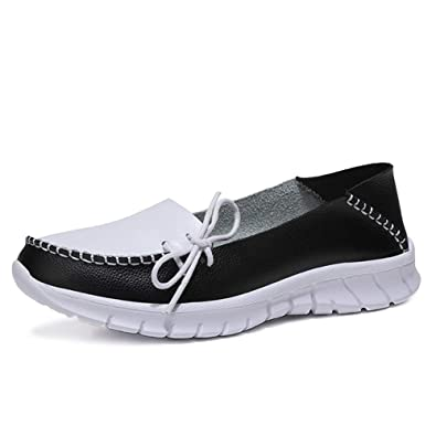 dff33b10f20 NineCiFun Womens Slip on Sneakers Casual Walking Leather Loafers Flats(5  B(M)