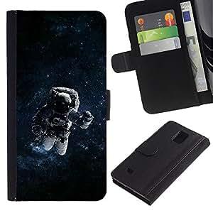 Protector de cuero de la PU de la cubierta del estilo de la carpeta del tirón BY RAYDREAMMM - Samsung Galaxy Note 4 IV - Espacio psicodélico Astronauta