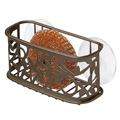 iDesign Vine Kitchen Sink Suction Holder for Sponges, Scrubbers, Soap - Bronze