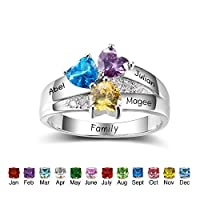 Personalized Simulated Birthstone Mothers Ring with Childrens Names Engraved Family Promise Rings for Her