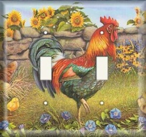 Double Light Switchplate Cover - Rooster And Sunflowers (Switchplate Rooster)