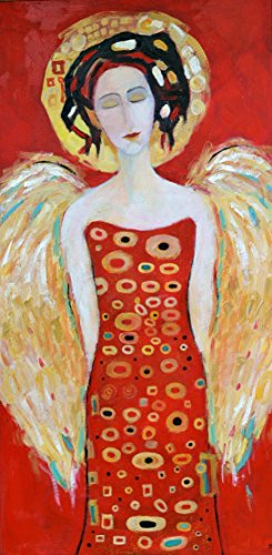 Angel Painting on CANVAS Wings Red and White Black Gold Silver for Living Room Guardian Christmas Original Oil Artwork 16x32 Wall Art Room House Home Decoration by SmartPolonia