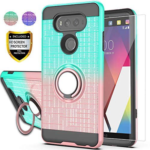 LG V20 Case, LG V20 Phone Case with HD Screen Protector,AYMECL Ring Holder Gradient Dual Layer Protective Case for LG V20 5.7 inch-BG Mint&Rose Gold