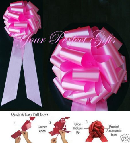 CANDY PINK 9'' WEDDING PULL PEW BOWS BRIDAL DECORATION