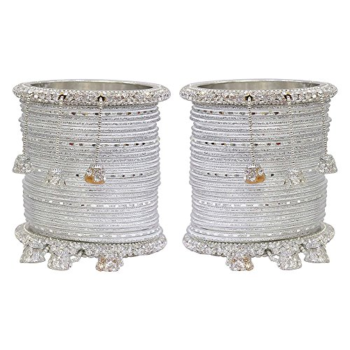 MUCH-MORE Marvellous Set of Multi Color Bangles Traditional Partywear Jewelry For Womens & Girls (Silver, 2.6) by MUCH-MORE
