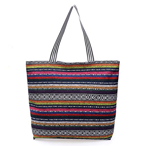 4 3 Hobo Canvas Tote Fashion Women Beach Handbag Bag Zipper JAGENIE Large Shoulder Shopping HRfw7BOHq
