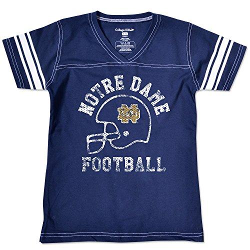 NCAA Notre Dame Fighting Irish Girls V Neck Short Sleeve Football Tee, Size 7/X-Small, Navy