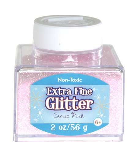 Pink Fine Light Glitter - Sulyn Extra Fine Cameo Pink Glitter Stacker Jar, 2 Ounces, Non-Toxic, Stackable and Reusable Jar, Multiple Slot Openings for Easy Dispensing and Mess Reduction, Light Pink Glitter, SUL51825