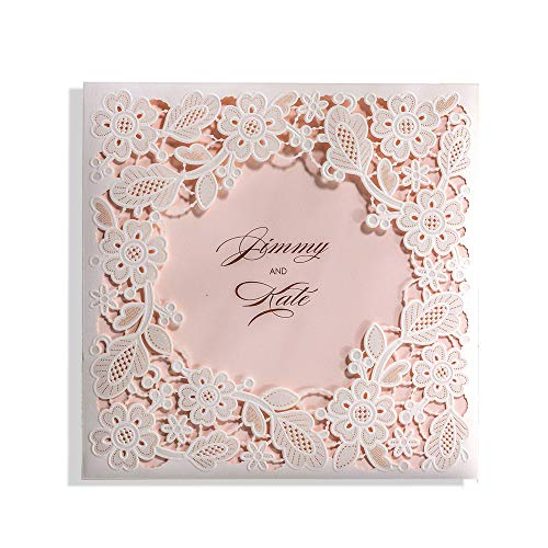 WISHMADE 50 6 x 6 inch White Floral Square Laser Cut Wedding Invites, Printable Blank Invitation Sleeve with Envelope, for Engagement Baby Shower Quincenera Birthday (Best Wishes For Baby Baptism)