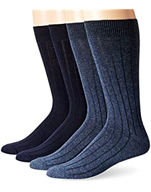 Men's 4 Pack Dress Wide Rib Crew Socks