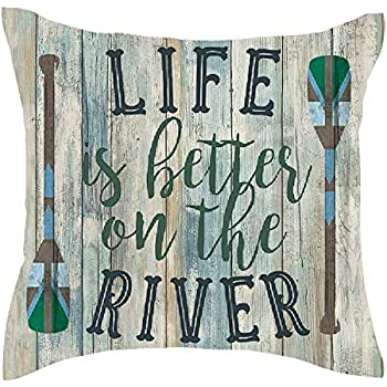 Jimrou Throw Pillow Cover 18x18inches Festival Gifts Summer Life is Better On The River Wood Oars Retro Wood Grain Cotton Linen Decorative Home Sofa Chair Car Square Throw Pillow Case Cushion Cover