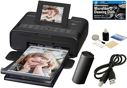 Canon CP1200 SELPHY Wireless Compact Photo Printer with NB-CP2LH Battery Pack (Black) + USB Printer Cable + Camera and Camcorder Cleaning Kit + TheImagingWorld Micro Fiber Cleaning Cloth