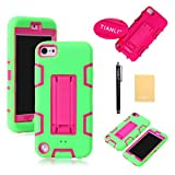 TIANLI(TM) Robot Stand Rugged Hard Soft Case For Apple ipod touch 5th Generation,Screen Protectors,Stylus and Cleaning Cloth Green Pink ZJ
