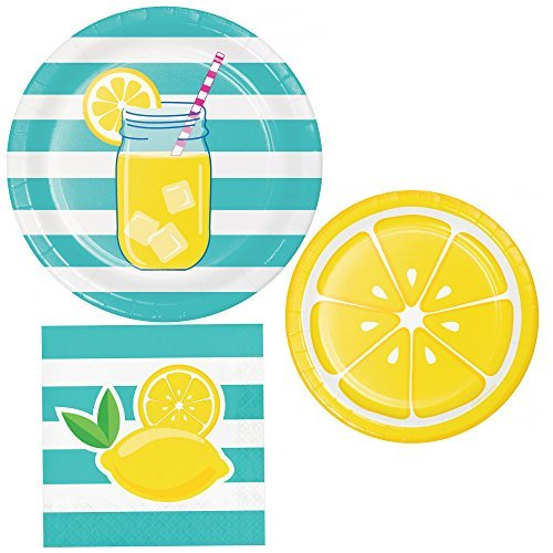 Summer Squeeze Party Supply Pack! Bundle Includes Paper Plates and Napkins for 8 Guests