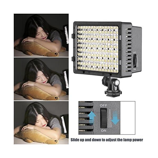 Neewer Pannello LED 160pcs da Potenza Ultra Alta Regolabile per Camera Digitale/Videocamera Video Luce/Luce LED per… 4 spesavip