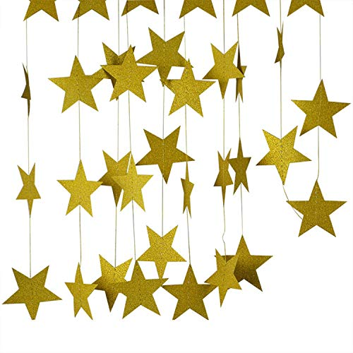 4M 7cm Paper Garland Star Shape String Banners Baby Shower Bunting Hanging Paper Happy Birthday Wedding Party Home Decoration,1 -