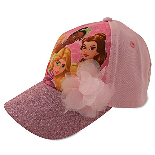 Disney Little Girls Princess Character Cotton Baseball Cap, Pink, Age 2-7 (Little Girls - Age 4-7 - 53CM)