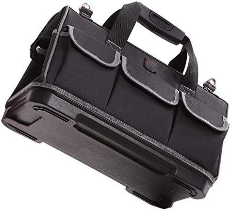 耐久性工具バッグ 商人ワークステーションジッパー修理キットオーガナイザーハードウェアツールバッグ電気技術オーガナイザー付きゴムシートベース 工具収納&仕分け管理&運搬用 (色 : Black, Size : 17inch)