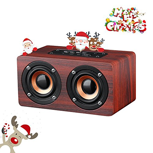 Portable Wireless Bluetooth Speaker : 10-Hour Playtime, 10W Wood Home Speakers with...